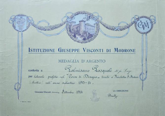 """""""Istituzione Giuseppe Visconti di Modrone"""" - Medaglia d'argento 1913/14"""